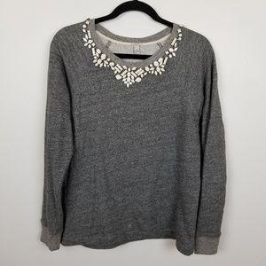 J. Crew embellished sweater, gray, size M